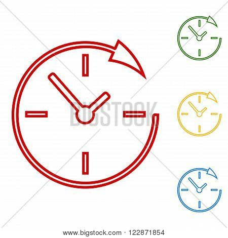 Service and support for customers around the clock and 24 hours. Set of line icons. Red, green, yellow and blue on white background.