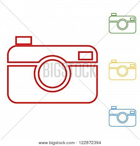 Digital photo camera. Set of line icons. Red, green, yellow and blue on white background.