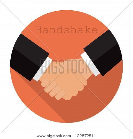 Logo Shaking Hands In A Flat Style