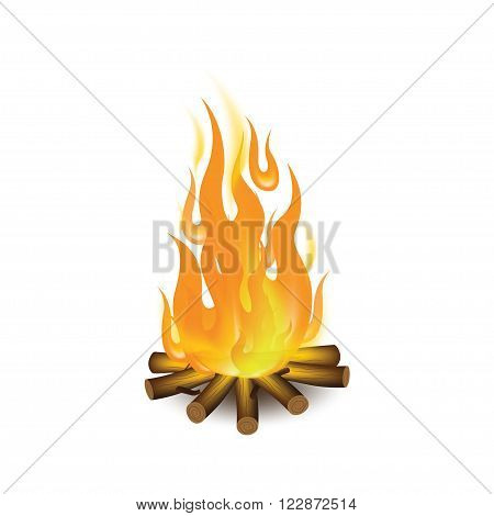 Bonfire Vector background, realistic bonfire, burning wood