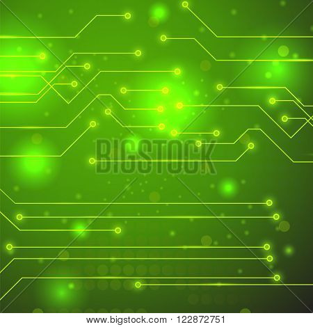 Modern Computer Technology Green Background. Circuit Board Pattern. High Tech Printed Circuit Board
