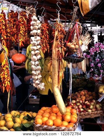 Roadside stall selling chillies garlic and various other spices and vegetables Amalfi Coast Campania Italy Europe.