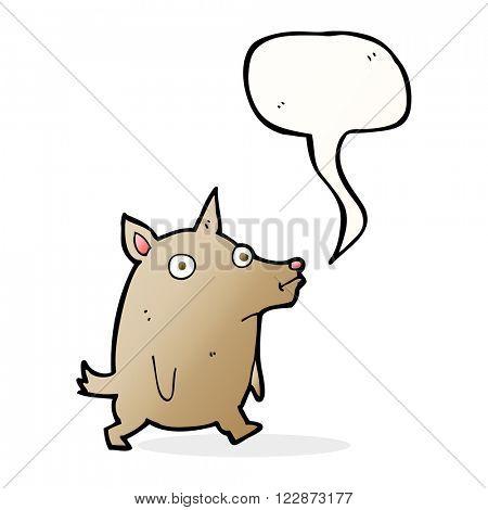 cartoon funny little dog with speech bubble