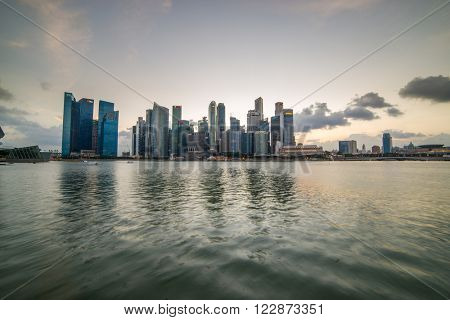 SINGAPORE, FEBRUARY 17 2016 : Singapore skyline and view of the financial district, Singapore on February 17 2016