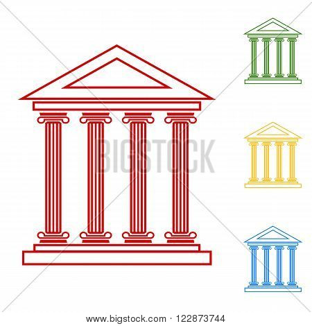 Historical building. Flat design style. Set of line icons. Red, green, yellow and blue on white background.