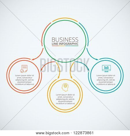 Thin line flat circles for infographic. Template for diagram, graph, presentation and round chart. Business concept with options, parts, steps or processes. Data visualization.