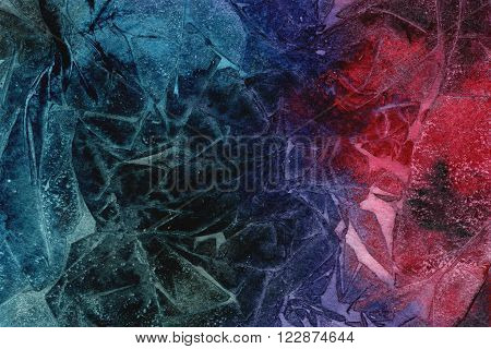 Art design dark green blue red hues hand drawn watercolor grunge wrinkled paper texture with creases