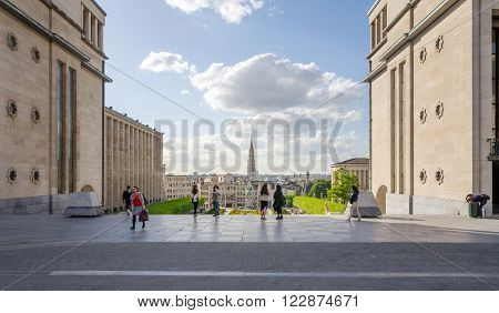 Brussels Belgium - May 12 2015: Tourist visit Kunstberg or Mont des Arts (Mount of the arts) gardens in Brussels Belgium. The Mont des Arts offers one of Brussels' finest views.