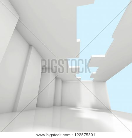 Abstract White Empty Room Interior Background