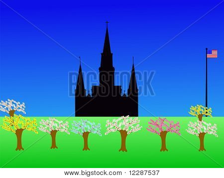 St Louis Cathedral Jackson Square New Orleans in springtime JPG