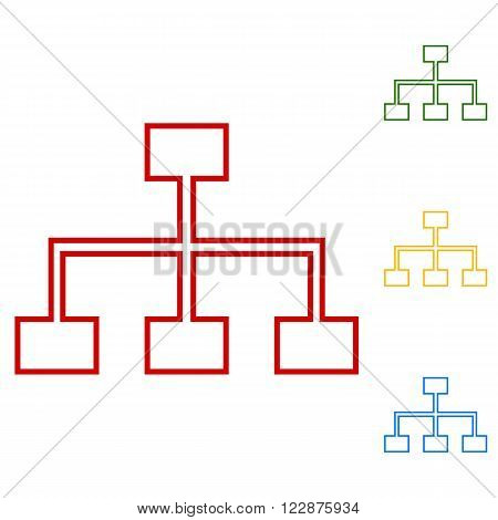 site map line icon for your projects. Set of line icons. Red, green, yellow and blue on white background.