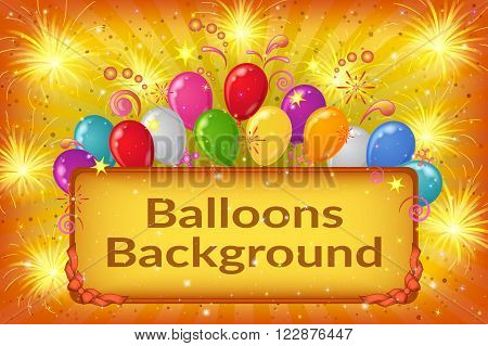 Holiday Background with Plate, Sparks, Patterns, Fireworks and Colorful Balloons on Yellow. Eps10, Contains Transparencies. Vector