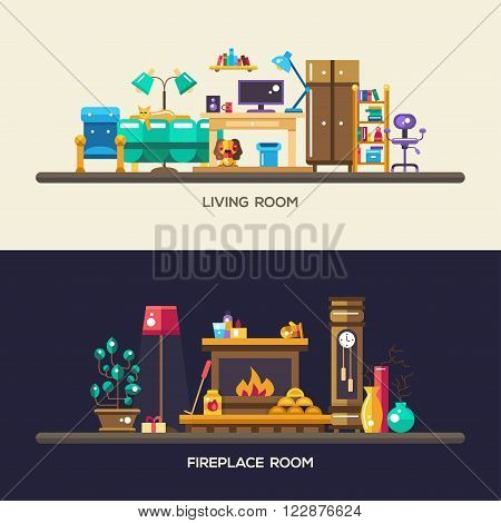 Set of vector modern flat design home rooms interior furniture website headers, banners set with icons and infographics elements