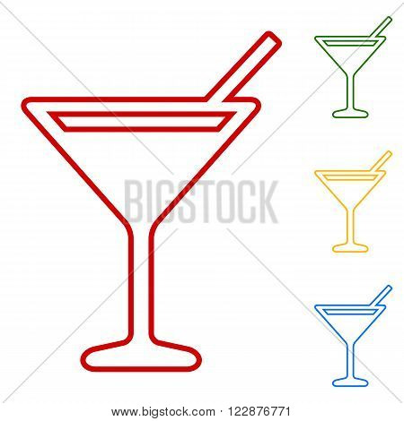 Coctail. Set of line icons. Red, green, yellow and blue on white background.