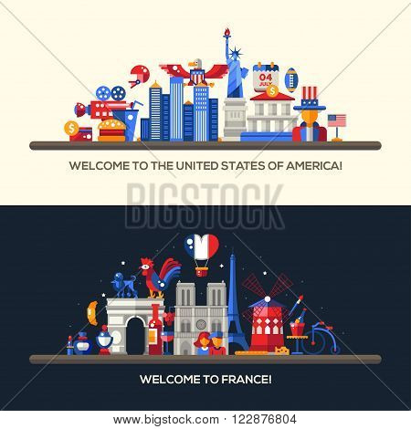 Set of vector flat design France, USA travel banners, headers with icons and infographics elements with landmarks and famous French and American symbols