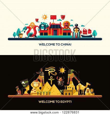 Illustration of flat design Egypt and China travel vector banners set with icons, infographics elements, landmarks and famous Egyptian and Chinese symbols