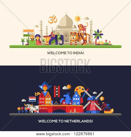 Illustration of flat design Netherlands, Holland, India travel vector banners set with icons, infographics elements, landmarks and famous Indian and Dutch symbols
