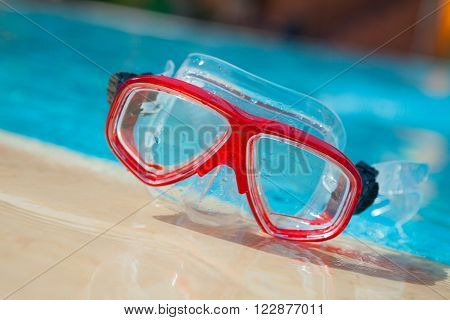 Mask For Diving On Blue Water Background