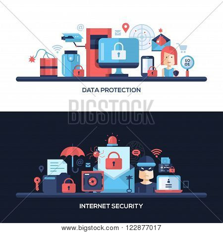 Website data safety, security and protection header, banner, icons and other flat design web elements
