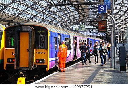 LIVERPOOL, UK - JUNE 11, 2015 - British Rail Class 150 train alongside platform nine in Lime Street Railway Station Liverpool Merseyside England UK Western Europe, June 11, 2015.