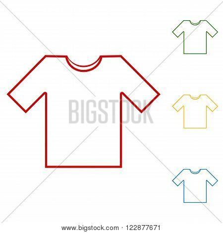 T- shirt line icon vector illustration. Set of line icons. Red, green, yellow and blue on white background.
