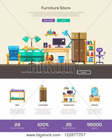 House interior and domestic furniture online store web site one page website template layout with thin line design header, banner, icons and other flat design web elements