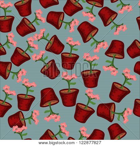 Seamless pattern with pink flowers in pots on a blue background