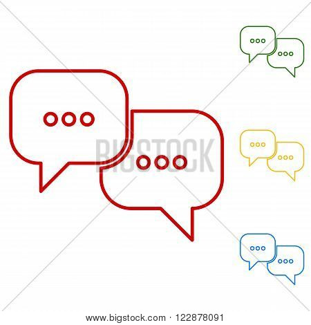 speech bubles. Set of line icons. Red, green, yellow and blue on white background.