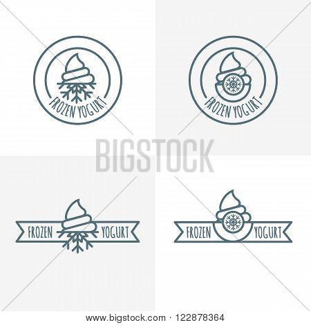 Set Of Vector Outline Logo, Label, Emblem Of Frozen Yogurt.