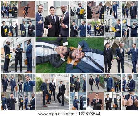 The collage from portraites of multi ethnic business team.Three  businessmen walking against the background of city. The one man is European, other is Chinese and African-American.
