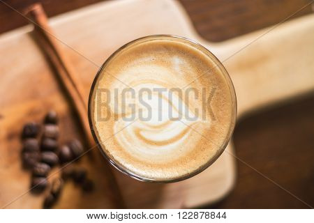 Heart-shaped pattern of coffee latte art valentine's day for background