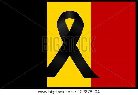 black mourning ribbon on a flag of Belgium