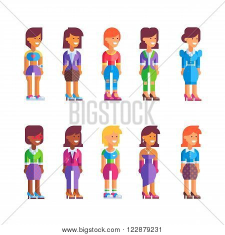 Collection of different female characters in flat design. Stock vector illustration. See also male set.