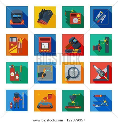Welding flat icons in colorful squares with welder tools protection clothes and measuring instrument isolated vector illustration