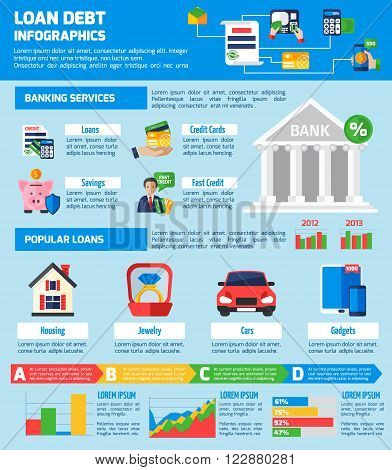Loan debt infographics flat layout with banking services information and popular loans statistics vector illustration