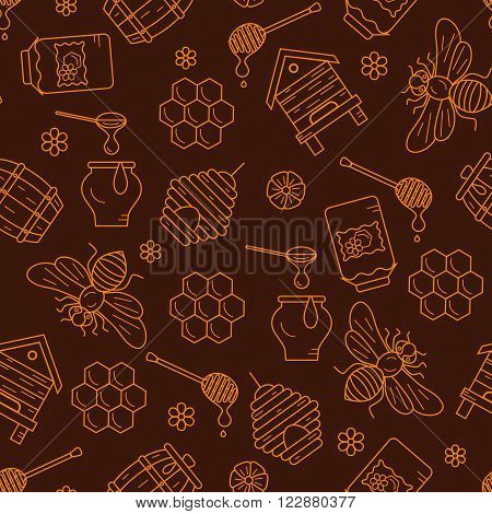 Mead seamless pattern illustration. Mead vector symbols. Bee, honey, bee house, honeycomb, beehive, flower. Outline style mead seamless pattern. Vector icon honey seamless pattern. Honey illustration