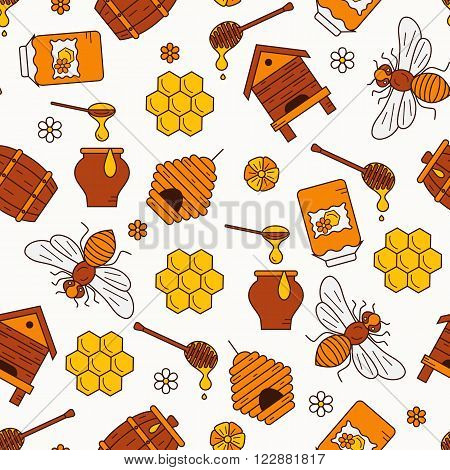 Honey seamless pattern illustration. Honey vector symbols. Bee, honey, bee house, honeycomb, beehive, flower. Outline style honey seamless pattern. Vector icon honey seamless pattern. Honey illustration
