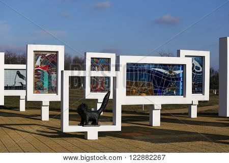 tour of the memorial complex in the Red Beach March 16, 2016 in the Gomel region, Zhlobin district, VILLAGE RED BEACH, BELARUS