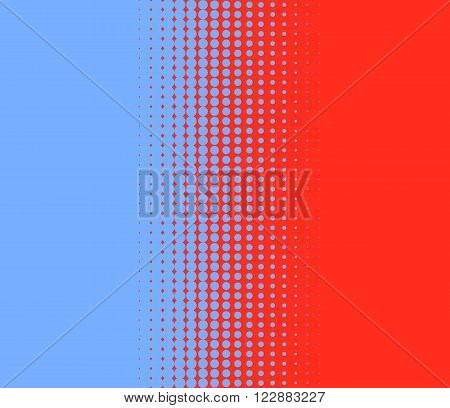 Transition of small blue and red dots