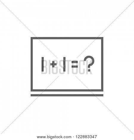 Maths example written on blackboard line icon.