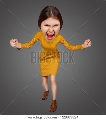 Top view of the furiously screaming, angry cartoon woman with big head. Isolated on gray background.