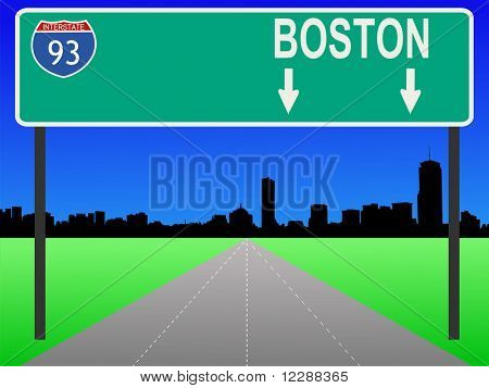 Boston skyline and interstate 93 sign illustration JPG