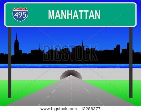 Midtown manhattan, tunnel and interstate 495 sign illustration JPG