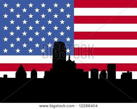 Dallas Skyline gegen amerikanische Flagge Abbildung