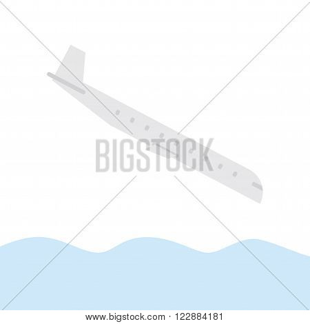 Plane crash. Aircraft falling into the water.
