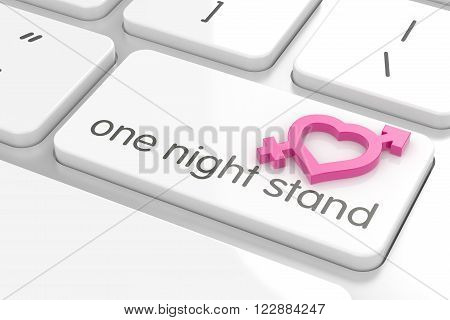 One Night Stand Computer Keyboard Text With Male And Female Sign