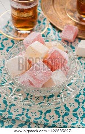 Rose and lemon flavour Turkish delight or rahat lokum a Middle Eastern confection