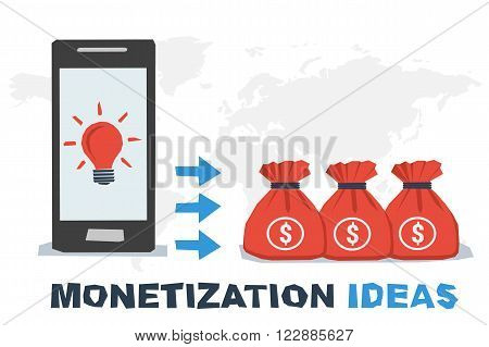 Vector concept abstract monetization ideas. Idea lamp on mobile screen and profit as miney in bags. Flat style. Infographics