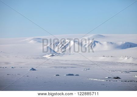 Severnaya Zemlya (Northern Land) aerial view. Archipelago in the Russian high Arctic which separates two seas of the Arctic Ocean, the Kara Sea in the west and the Laptev Sea in the east