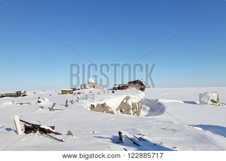 Abandoned polar station on an isolated Vize Island (Wiese) island located in the Arctic Ocean at the northern end of the Kara Sea